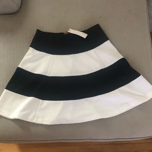 Black and white striped A-line skirt!